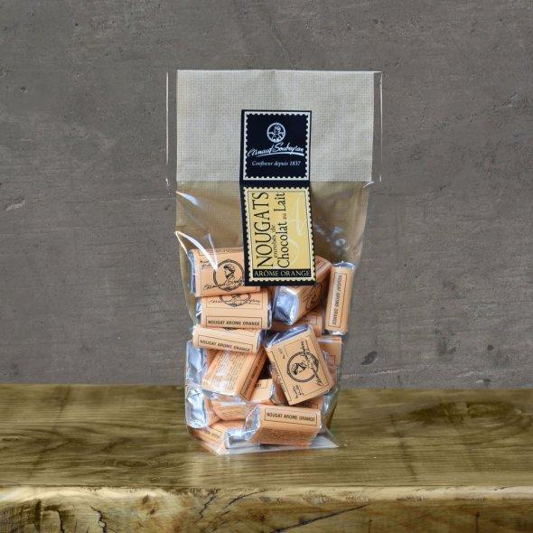 Nougat enrobé chocolat au lait écorce d'orange - Sachet 200gr