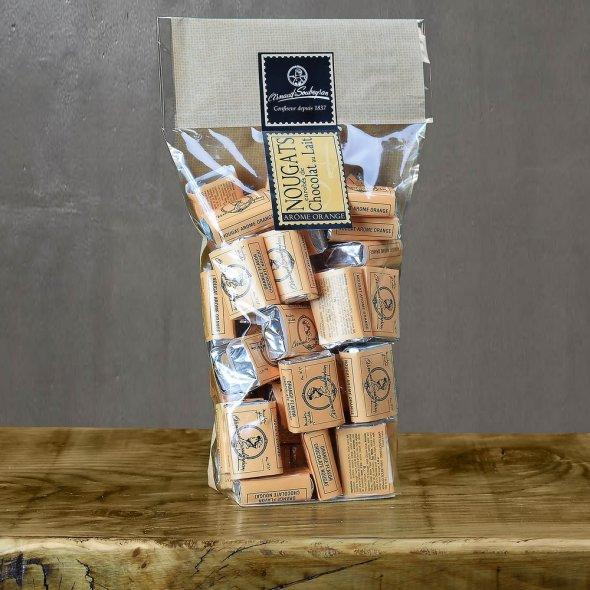 Nougat enrobé chocolat au lait écorce d'orange - Sachet 400gr